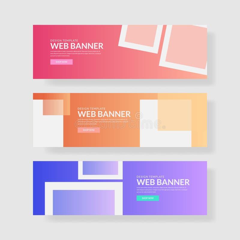 Ux d'ui de bannière de site Web Fond géométrique coloré Formes liquides avec des gradients à la mode illustration de vecteur