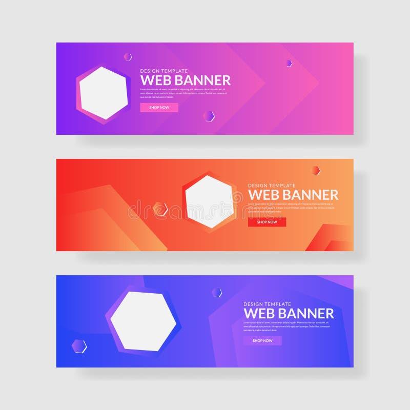 Ux d'ui de bannière de site Web Fond géométrique coloré Formes liquides avec des gradients à la mode illustration libre de droits
