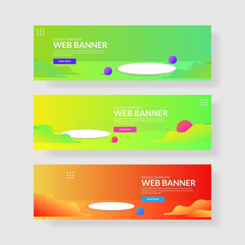 Ux del ui de la bandera de la página web Fondo geométrico colorido Formas flúidas con pendientes de moda libre illustration