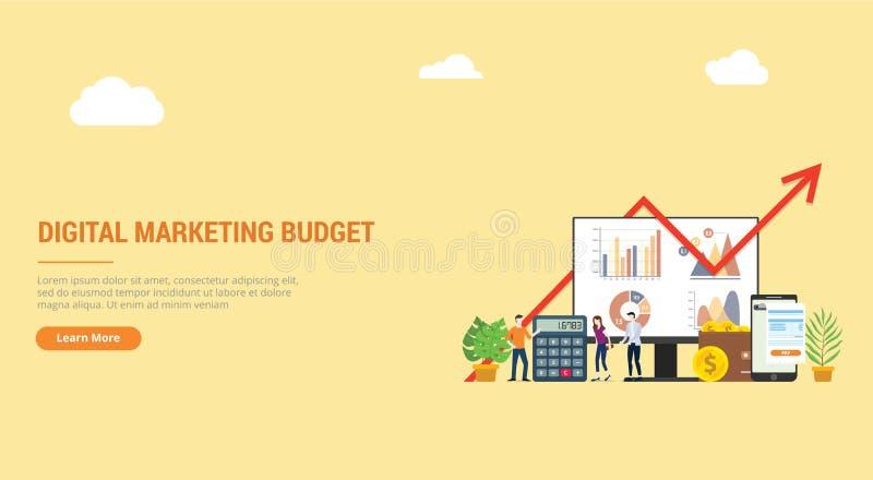 Ux del ui de la página del aterrizaje del diseño de la página web para la campaña financiera del presupuesto de marketing digital libre illustration