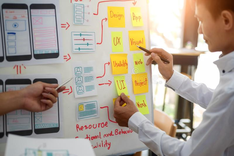 UX designer creative group working about planing mobile application project with sticky notes. User experience concept royalty free stock images