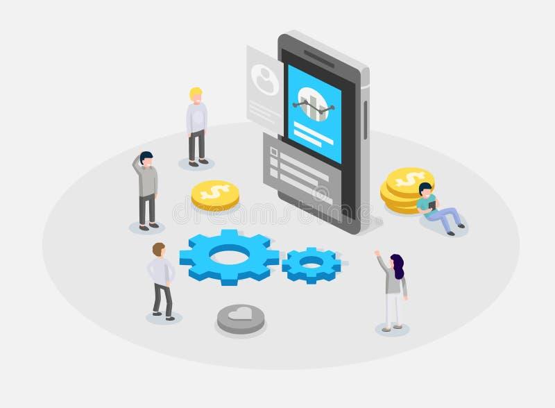 UX eller UI-designbegrepp Folk som står runt om apparaten med infographic Programvarugrupp, sats för att programmera för telefons royaltyfri illustrationer