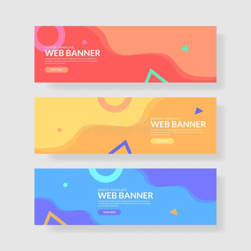 Ux för Websitebanerui färgrikt geometriskt för bakgrund Vätskeformer med moderiktiga lutningar stock illustrationer