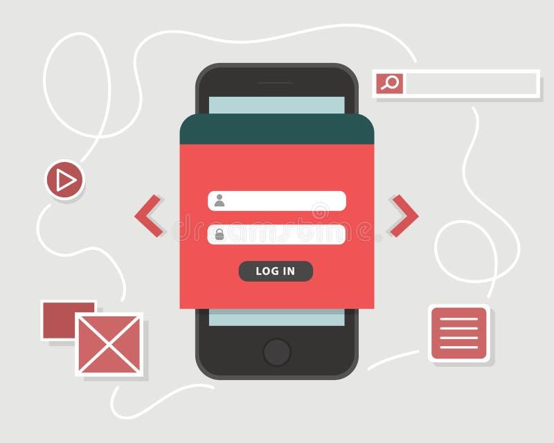 UX-Konzept des Entwurfes Smartphone mit Anmeldungsform, Spielikone und Sucheplaceholder, Vektorillustration vektor abbildung