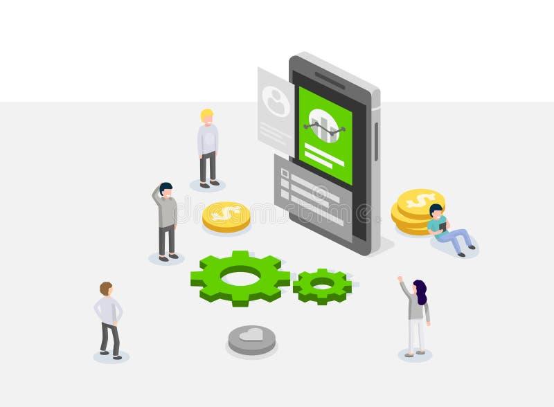 UX- oder UI-Konzept des Entwurfes Leute, die um Gerät mit infographic stehen Software-Gruppe, Ausrüstung für Telefon seo Programm stock abbildung