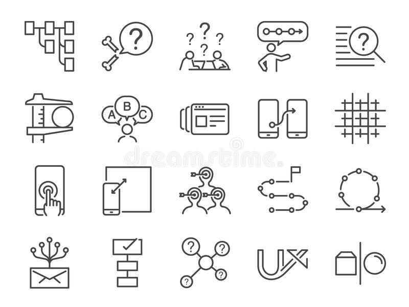 UX-pictogramreeks Omvatte de pictogrammen als gebruikerservaring, stroom, prototype, behendig, netsysteem, doel, oplossing, proce royalty-vrije illustratie
