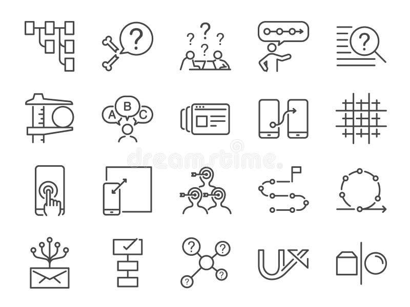 UX symbolsuppsättning Inklusive erfar flödar symbolerna som användare, prototypen, det lättrörlig, rastersystemet, målet, lösning royaltyfri illustrationer