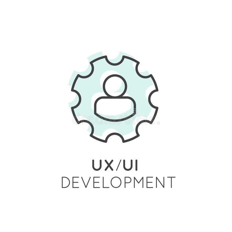 UX UI用户界面和用户体验处理概念 向量例证