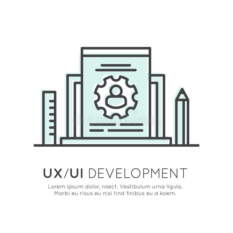 UX UI用户界面和用户体验处理概念 库存例证