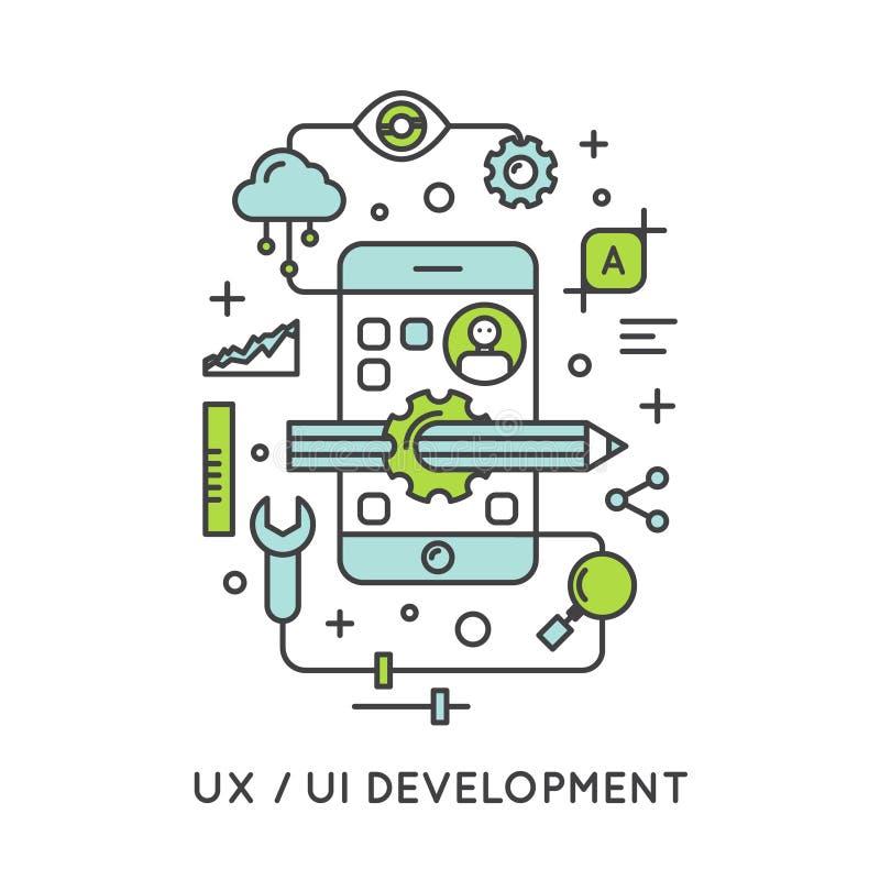UX UI用户界面和用户体验过程 向量例证