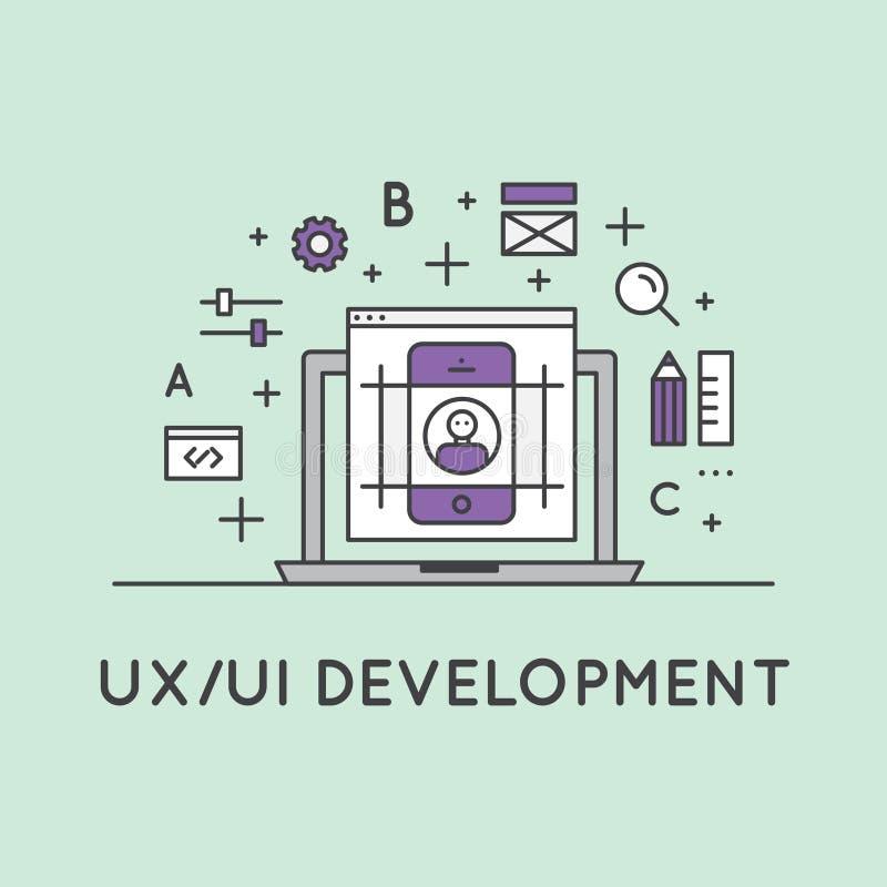 UX UI用户界面和用户经验的例证过程 库存例证