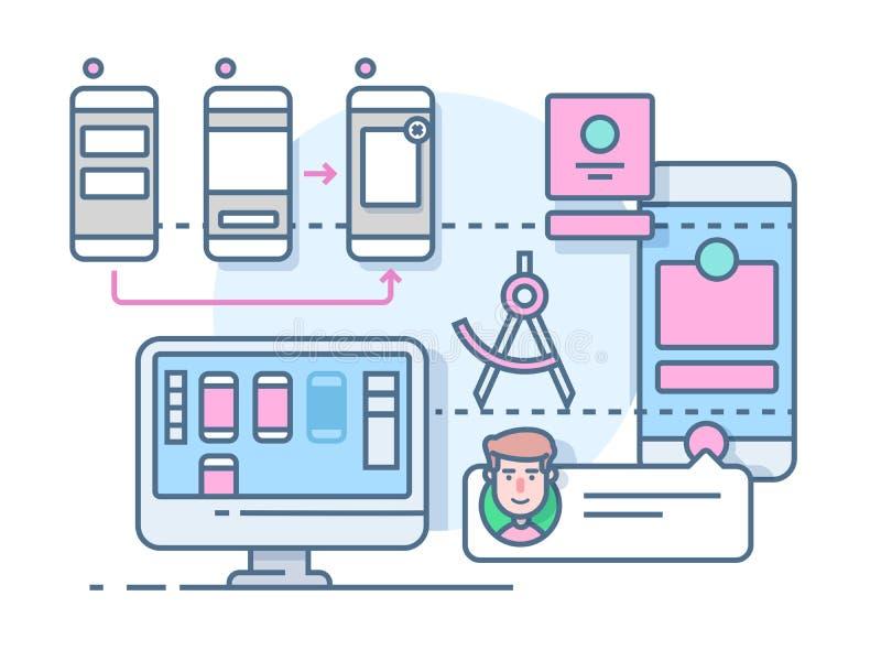 UX UI design flat. Mobile interface, website internet, development media page, vector illustration vector illustration