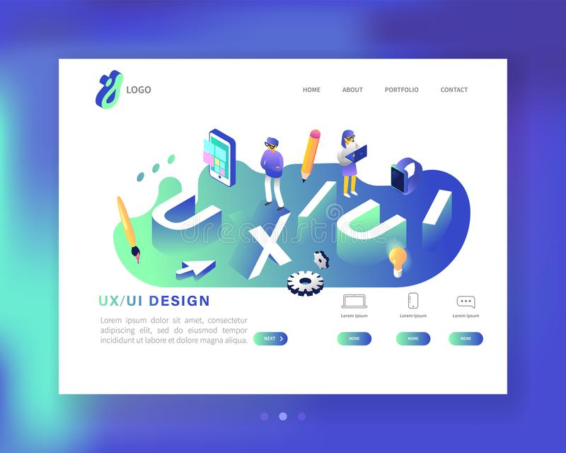 UX and UI Design Landing Page Template. Mobile App and Website Development. Isometric Web Page Layout. Easy to edit royalty free illustration