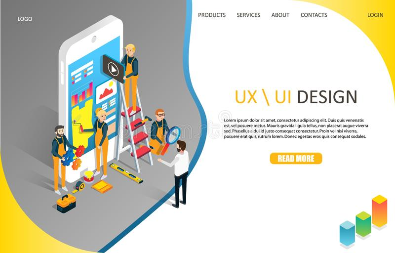 UX or UI design landing page website vector template. UX or UI design landing page website template. Vector isometric illustration. Mobile app user interface stock illustration