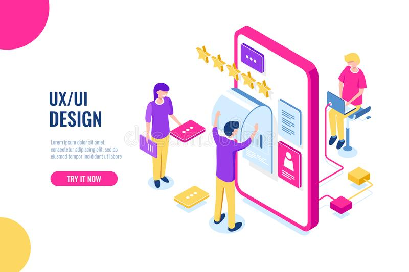 UX UI Design, mobile development application, user interface building, mobile phone screen, people work and help. Together, programming for smartphone vector illustration