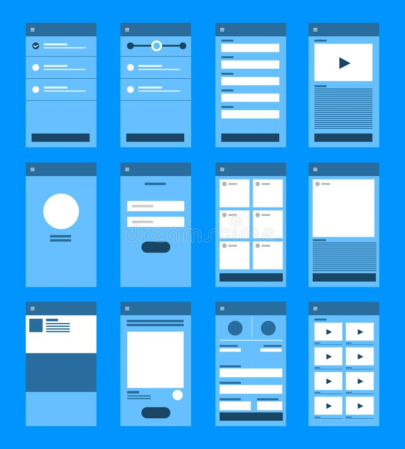 UX UI flödesdiagram För applikationbegrepp för modeller mobil desig för lägenhet royaltyfri illustrationer