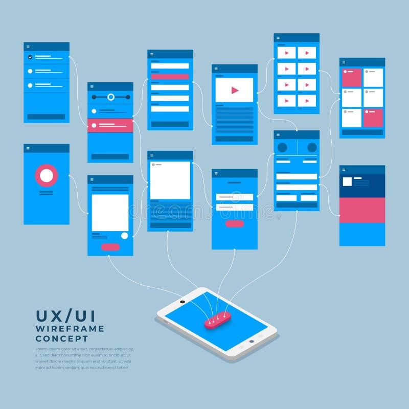 UX UI flödesdiagram Mobilt isometriskt applikationbegrepp för modeller royaltyfri illustrationer