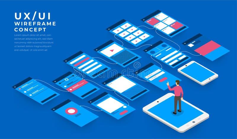 UX UI flödesdiagram Mobilt isometriskt applikationbegrepp för modeller stock illustrationer