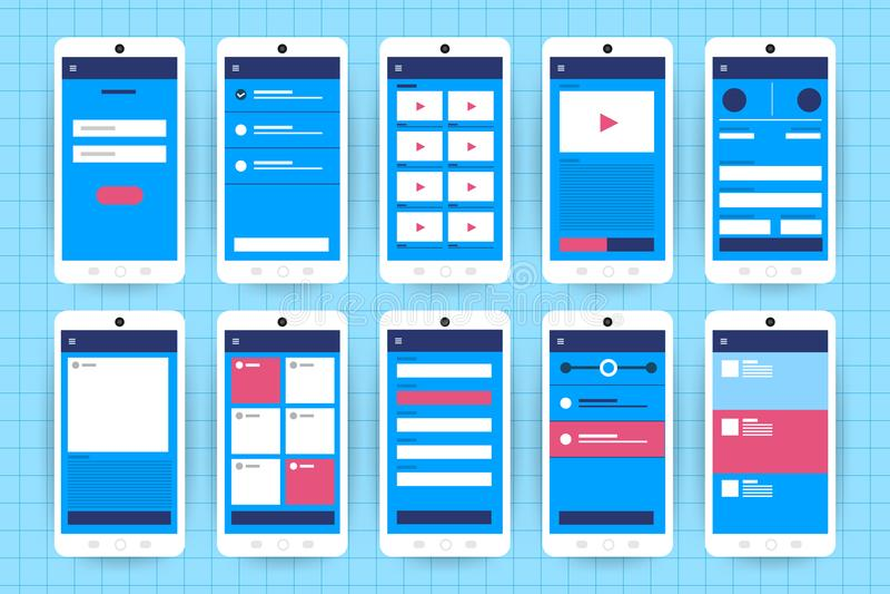 UX UI Flowchart. Mock-ups mobile application concept flat desig vector illustration