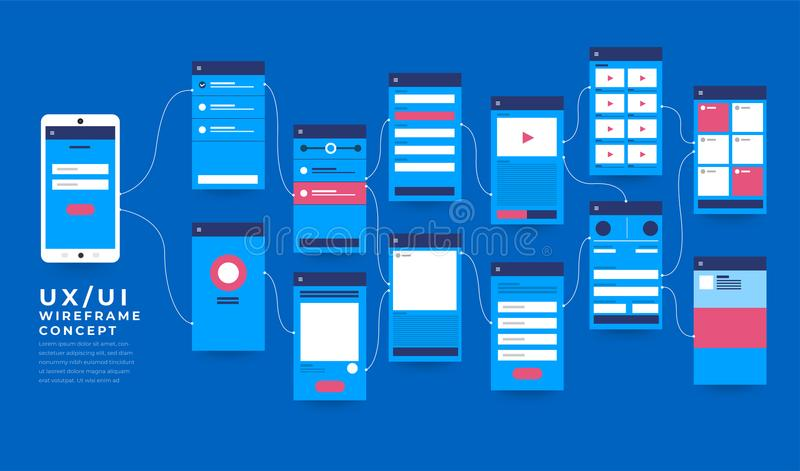 UX UI Flowchart. Mock-ups mobile application concept flat desig stock illustration