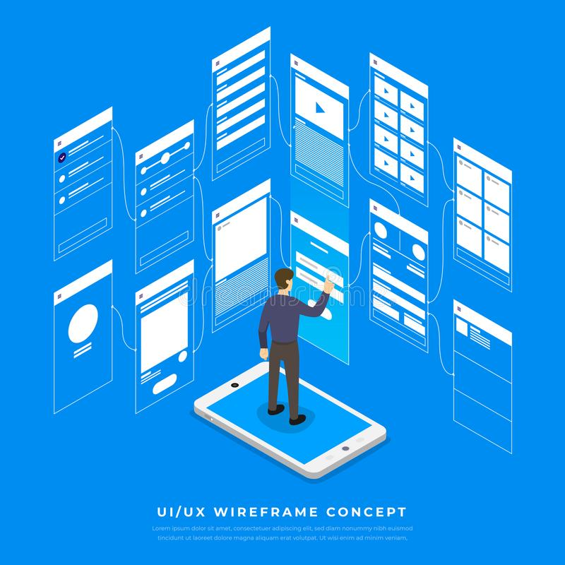 UX UI Flowchart. Mock-ups mobile application concept isometric stock illustration