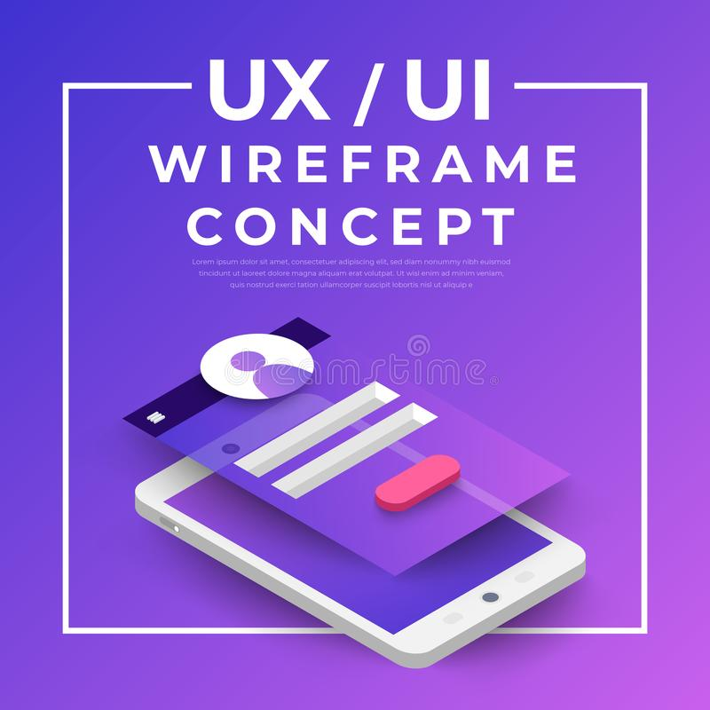 UX UI Flowchart. Mock-ups mobile application concept isometric. Flat design. Vector illustration royalty free illustration