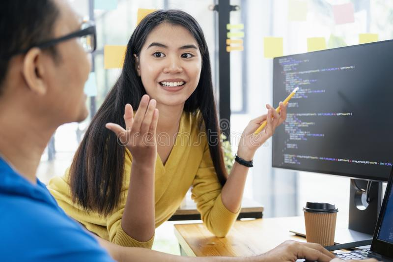 UX UI and Programming development technology. Programmer and UX UI designer working in a software development and coding technologies. Mobile and website design stock photo