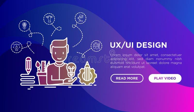 UX/UI projekta pojęcie: twórca wytwarza pomysł, z cienkimi kreskowymi ikonami: zaczyna w górę, wytyczne, brainstorming, łamigłówk ilustracja wektor