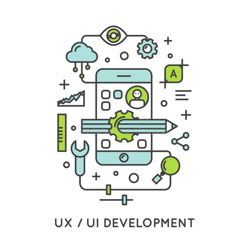 UX UI User Interface and User experience Process vector illustration