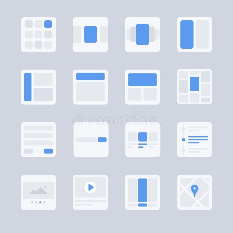 UX- und UI-Ikonen stellten 2 ein: Benutzerschnittstellenanzeige und -plan lizenzfreie abbildung