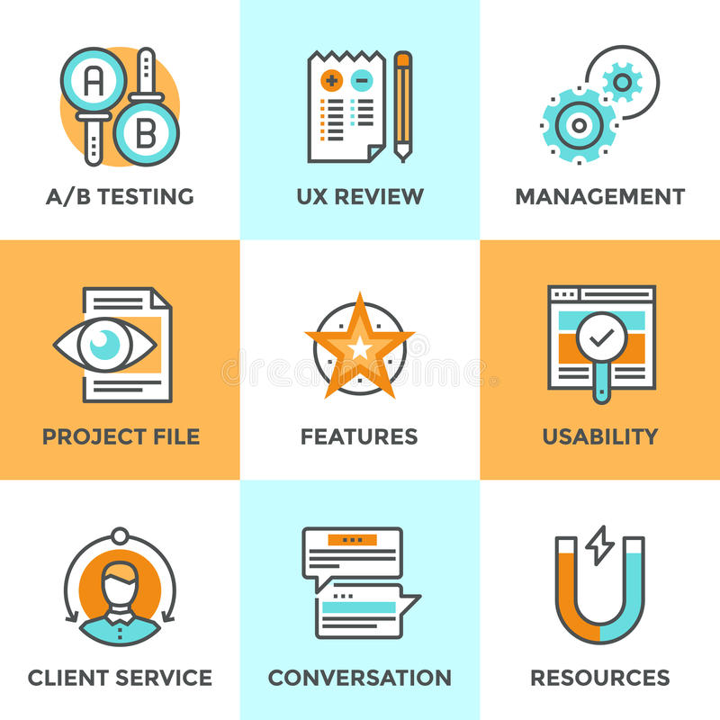 UX and usability testing line icons set royalty free illustration