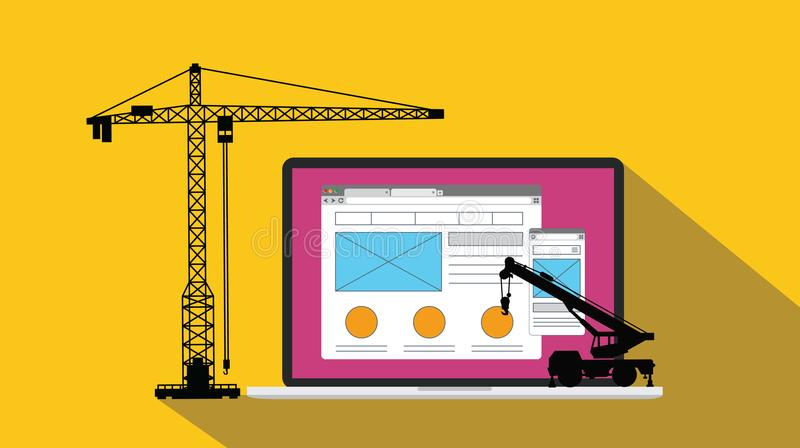 Ux user experience design website apps development and build with crane and laptop vector illustration