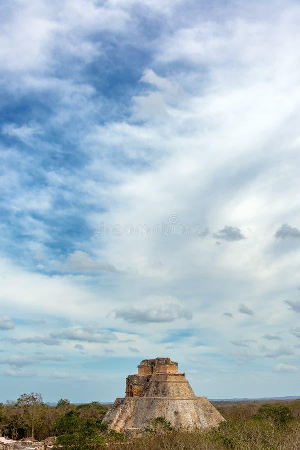 Uxmal και δραματικός ουρανός στοκ εικόνα