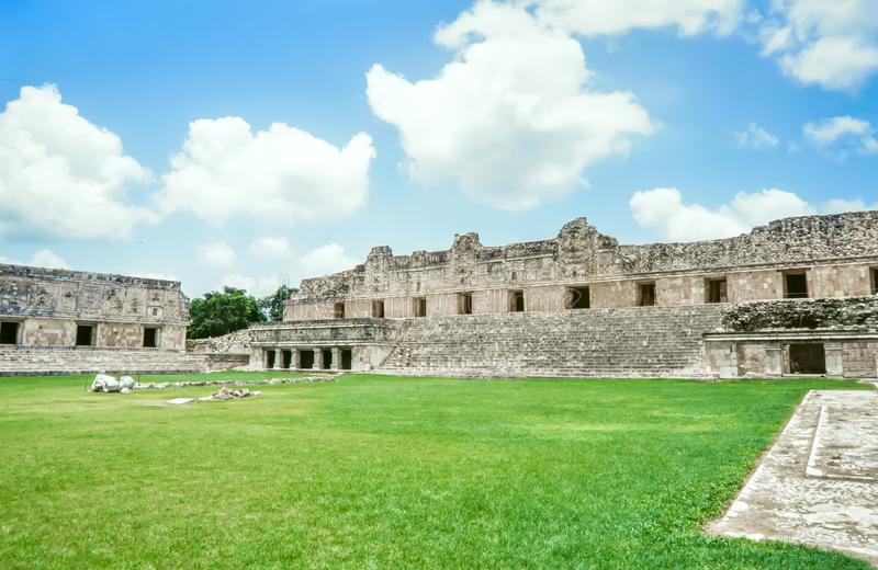 Uxmal Archeogical Site. Ruins of the Nunnery Quadrangle, Uxmal,. Mexico royalty free stock images
