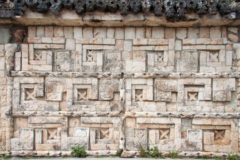Uxmal Carved Wall Yucatan Mexico Stock Photo