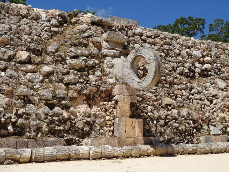 Uxmal Game Court. Photo of game court at uxmal in yucatan mexico. This ihoop that is the fore runner of basketball. The object of the game is to use your body to stock image