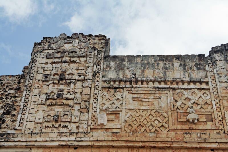 Uxmal Gesneden Muur royalty-vrije stock afbeeldingen