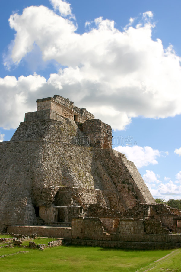 Uxmal maya pyramid. Main round pyramid on mayan site over sky royalty free stock image