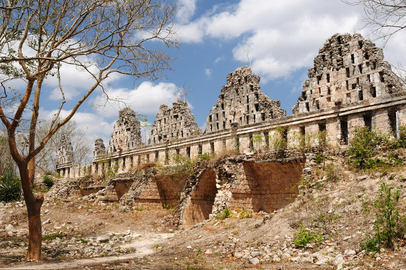 Uxmal-Mayaruinen in ucatan, exico lizenzfreies stockfoto