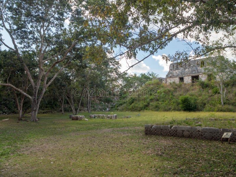 Uxmal, Merida, México, América [a grande pirâmide do mágico no local arqueológico de Uxmal, destino do turista, maia asteca india fotos de stock royalty free