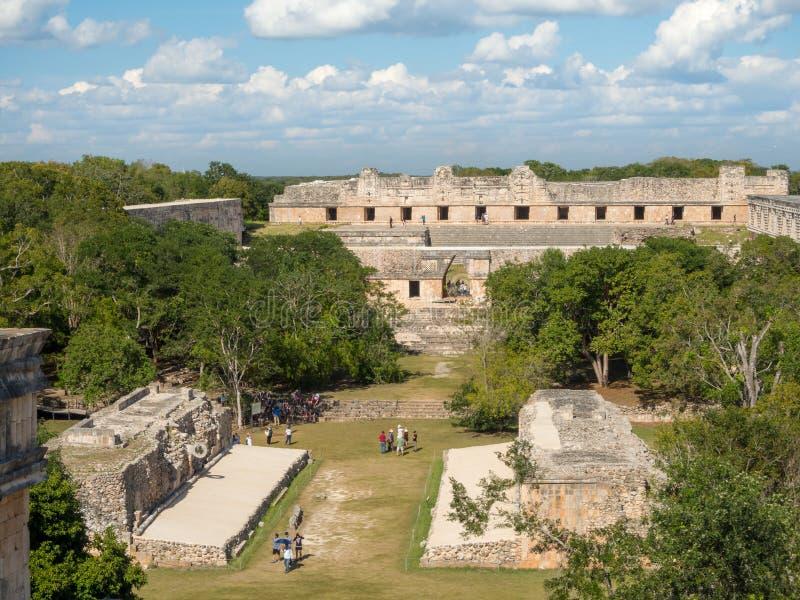 Uxmal Merida, Mexico, Amerika [Uxmal den arkeologiska platspyramiden fördärvar, den turist- destinationen, indiska Aztec Mayan Za arkivfoto