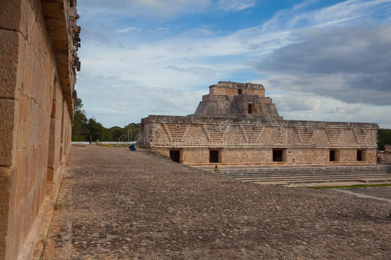 Majestic ruins Maya city in Uxmal,Mexico royalty free stock image