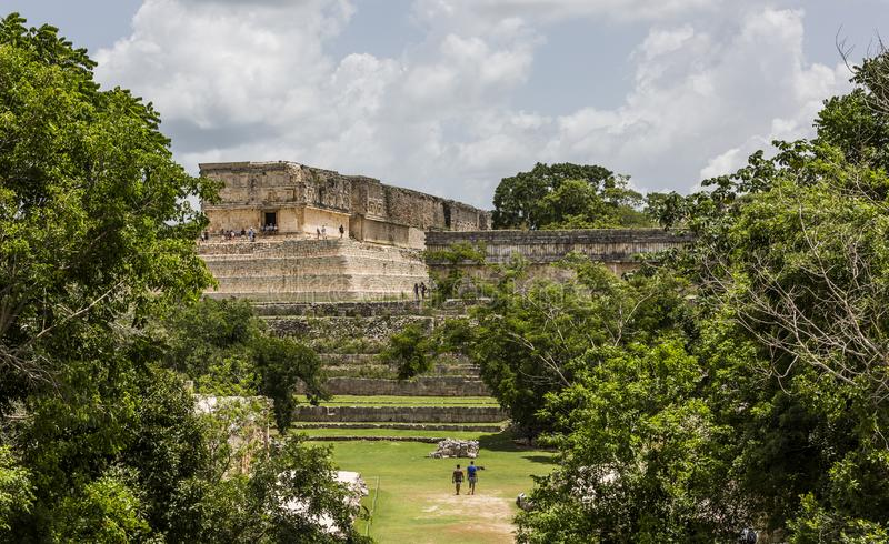 View of the Archaeological Zone of Uxmal, on the left side the governor`s palace in all its splendor stock photography