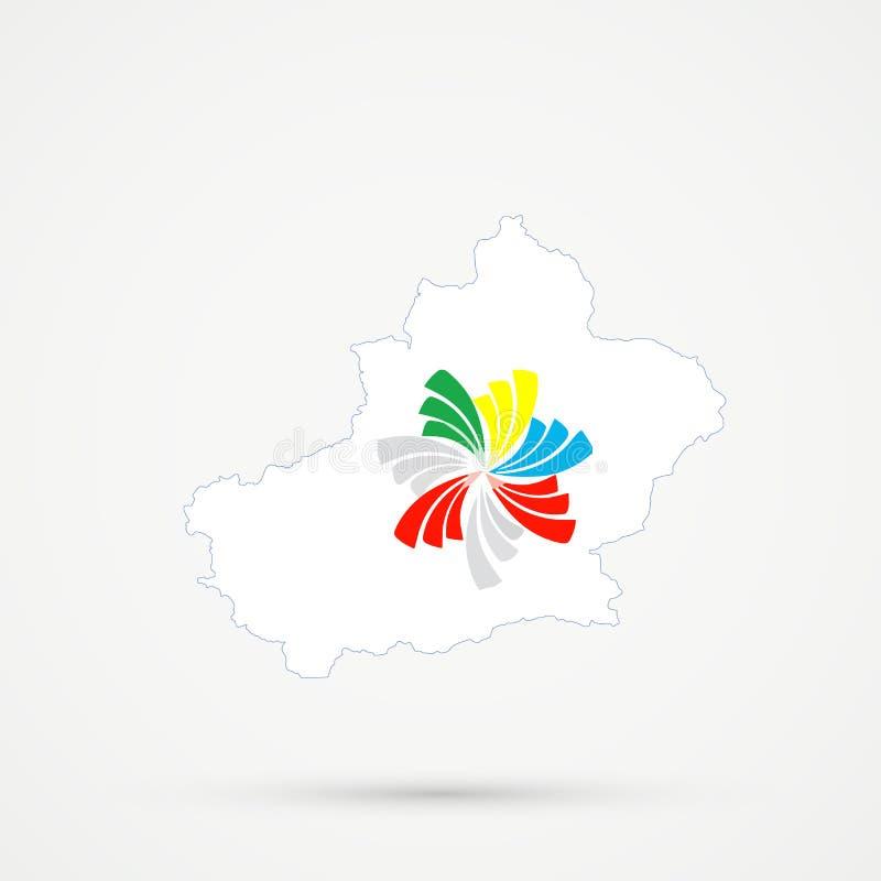 Uyghuristan восточный Туркестан, карта в Тихих океан цветах флага союзничества, editable вектор Синьцзян иллюстрация вектора