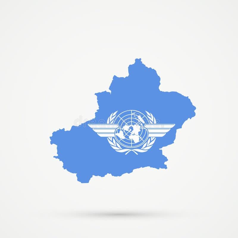 Uyghuristan öst Turkestan, Xinjiang översikt i internationella färger för flagga för civilflygorganisation ICAO, redigerbar vekto royaltyfri illustrationer