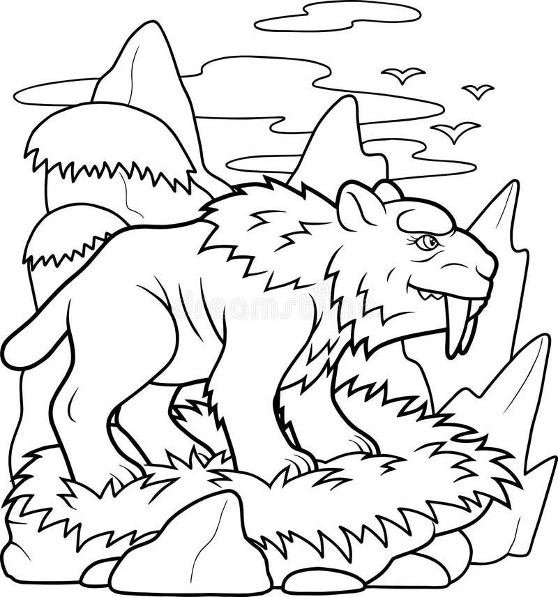 Uzębiony tygrys przygotowywa tropić ilustracji
