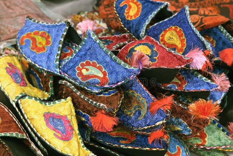 Uzbeków tradycyjni kapcie zdjęcia stock