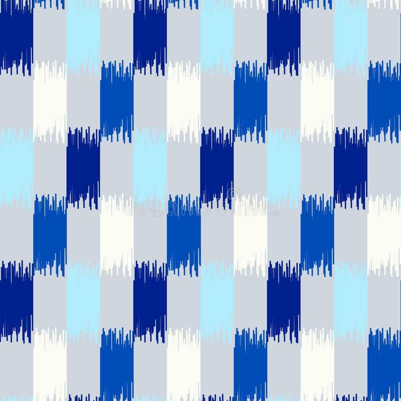 Uzbek ikat silk fabric pattern, indigo blue and white colors royalty free illustration