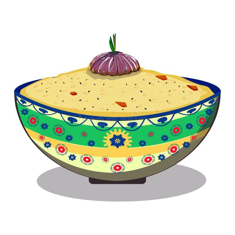 Uzbeka pilaf krajowy naczynie Na białym tle ilustracja wektor