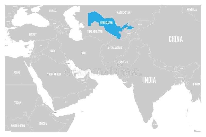 Uzbekistan błękit zaznaczający w politycznej mapie Południowa Azja i Środkowy Wschód Prosta płaska wektorowa mapa ilustracji